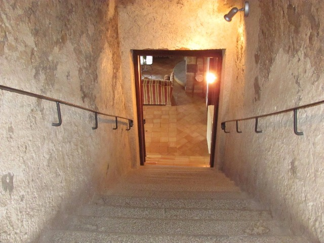 The ancient stone staircase to the dovecote